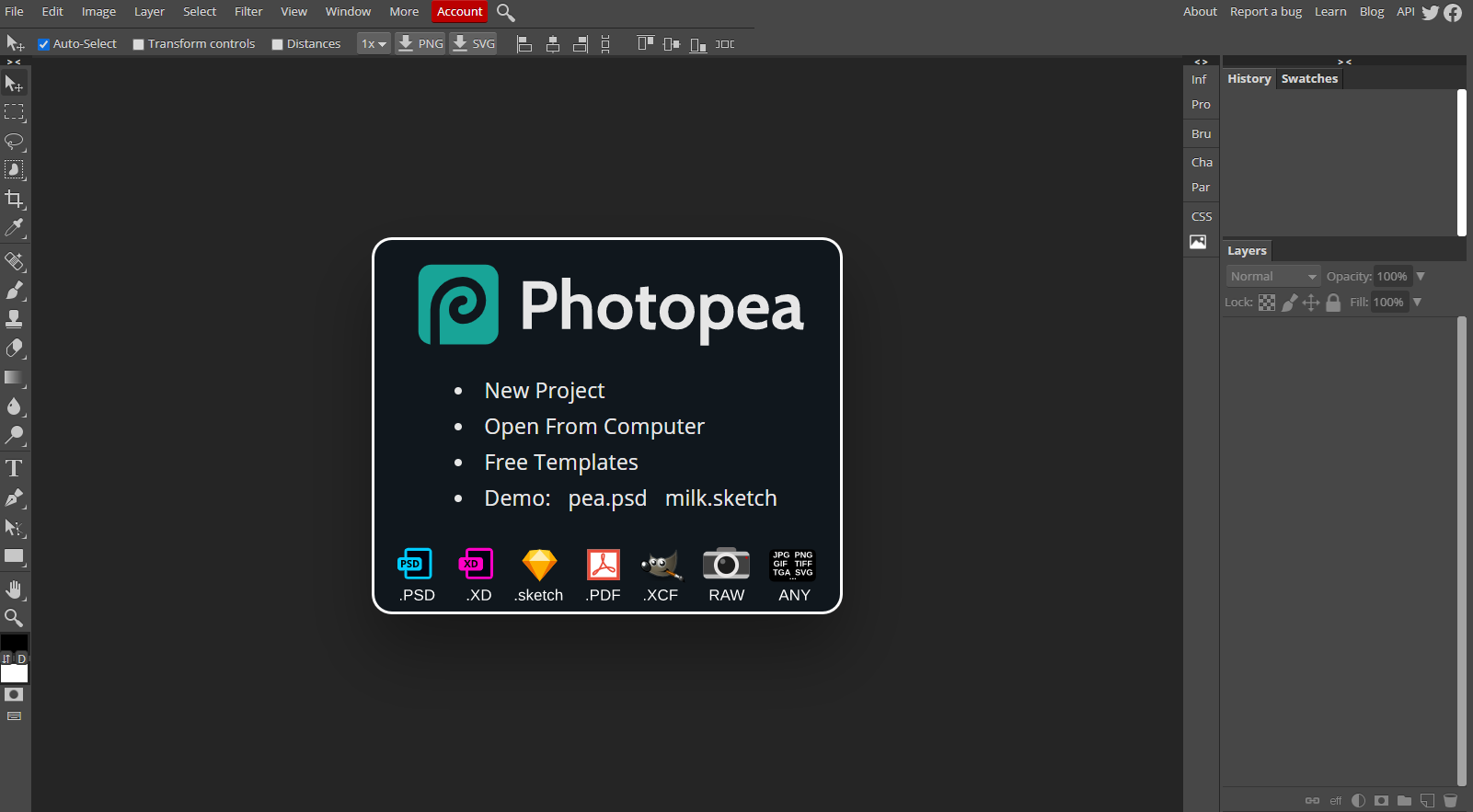 The Photopea web app