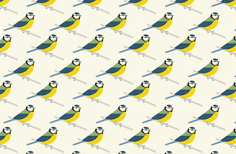 Blue Tit Tiled